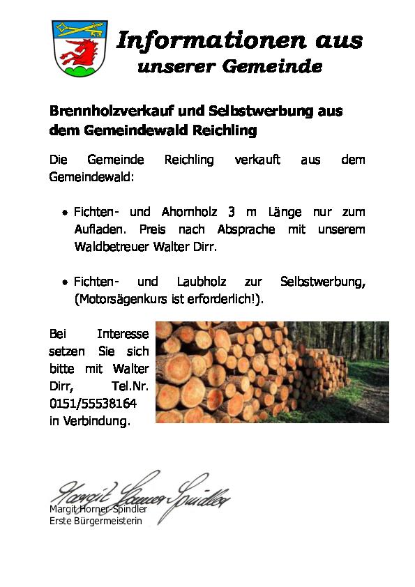 Brennholzverkauf Und Selbstwerbung Aus Dem Gemeindewald Gemeinde